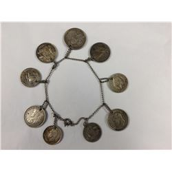 Bracelet with Assorted Old World Silver Coins - Including Australian - Length 190mm Approx - Weight