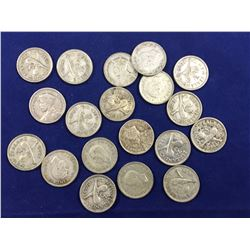 Group of 19 New Zealand Silver Threepence Coins