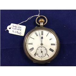 1910 Antique Sterling Silver Swiss Lever Pocket Watch