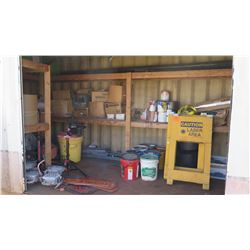 Contents of Shelving: Pressure Washer, Signage, Paint, Lights, Tamper, etc