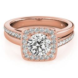 0.85 CTW Certified VS/SI Diamond Solitaire Halo Ring 18K Rose Gold - REF-147H3W - 26839