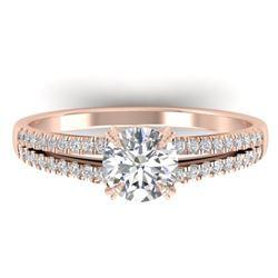 1.11 CTW Certified VS/SI Diamond Solitaire Art Deco Ring 14K Rose Gold - REF-182M9F - 30304