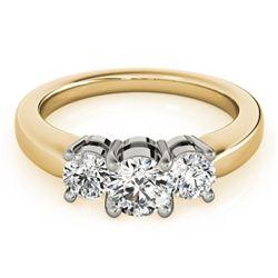 1.33 CTW Certified VS/SI Diamond 3 Stone Ring 18K Yellow Gold - REF-262R9K - 28070