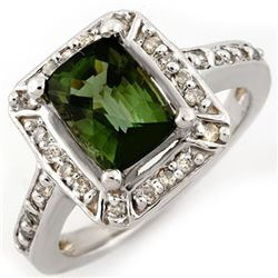 2.40 CTW Green Tourmaline & Diamond Ring 14K White Gold - REF-64Y8N - 10933