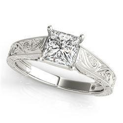 0.50 CTW Certified VS/SI Princess Diamond Ring 18K White Gold - REF-125H3W - 28119