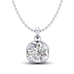1.13 CTW VS/SI Diamond Solitaire Art Deco Stud Necklace 18K White Gold - REF-217F3M - 36863
