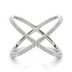 0.55 CTW Certified VS/SI Diamond Designer Fashion Ring 18K White Gold - REF-81R3K - 28260