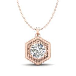 0.76 CTW VS/SI Diamond Solitaire Art Deco Stud Necklace 18K Rose Gold - REF-178H2W - 36903