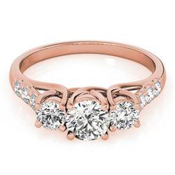 1.33 CTW Certified VS/SI Diamond 3 Stone Ring 18K Rose Gold - REF-220F8M - 28084