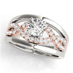 1.05 CTW Certified VS/SI Diamond Solitaire Ring 18K White & Rose Gold - REF-239R5K - 27915