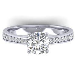 1.26 CTW Certified VS/SI Diamond Solitaire Art Deco Ring 14K White Gold - REF-352W4H - 30384