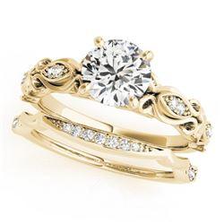 0.71 CTW Certified VS/SI Diamond Solitaire 2Pc Wedding Set Antique 14K Yellow Gold - REF-133M5F - 31