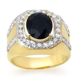 5.75 CTW Sapphire & Diamond Mens Ring 10K Yellow Gold - REF-118W2H - 14497