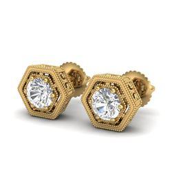 1.07 CTW VS/SI Diamond Solitaire Art Deco Stud Earrings 18K Yellow Gold - REF-190R9K - 36901