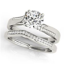 0.85 CTW Certified VS/SI Diamond Solitaire 2Pc Wedding Set 14K White Gold - REF-154T5X - 31934