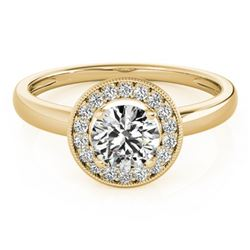 0.90 CTW Certified VS/SI Diamond Solitaire Halo Ring 18K Yellow Gold - REF-187N5Y - 26316