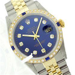 Rolex Men's Two Tone 14K Gold/SS, QuickSet, Diam Dial & Diam/Sapphire Bezel - REF-474A5N
