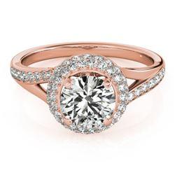 1.35 CTW Certified VS/SI Diamond Solitaire Halo Ring 18K Rose Gold - REF-216K4R - 26824
