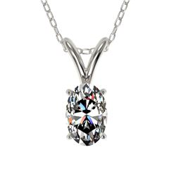 0.50 CTW Certified VS/SI Quality Oval Diamond Solitaire Necklace 10K White Gold - REF-74T5X - 33163