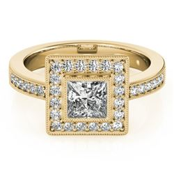 1.11 CTW Certified VS/SI Princess Diamond Solitaire Halo Ring 18K Yellow Gold - REF-209F3M - 27191