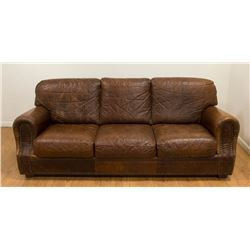 Awesome Alligator Brown Leather 3 Seat Sofa Ocoug Best Dining Table And Chair Ideas Images Ocougorg