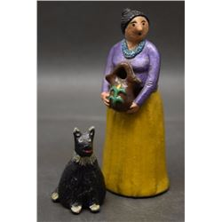 TWO NAVAJO POTTERY FIGURES (MANYGOATS)