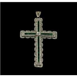 1.52 ctw Emerald and Diamond Pendant With Chain - Platinum