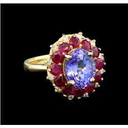 14KT Yellow Gold 2.75 ctw Tanzanite, Ruby and Diamond  Ring