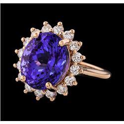 8.61 ctw Tanzanite and Diamond Ring - 14KT Rose Gold