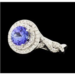 1.59 ctw Tanzanite and Diamond Ring - 14KT White Gold