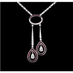 18KT White Gold 2.50 ctw Ruby and Diamond Necklace