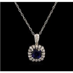 3.30 ctw Tanzanite and Diamond Pendant With Chain - 14KT White Gold