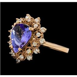 2.43 ctw Tanzanite and Diamond Ring - 14KT Rose Gold