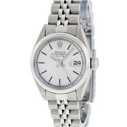 Rolex Ladies Stainless Steel Silver Index Smooth Bezel Jubilee Band Datejust Wri