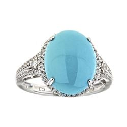 4.67 ctw Turquoise and Diamond Ring - 14KT White Gold