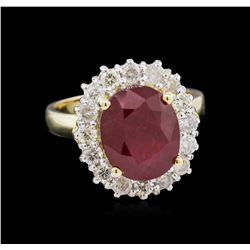5.19 ctw Ruby and Diamond Ring - 14KT Yellow Gold