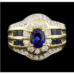 1.40 ctw Sapphire and Diamond Ring - 18KT Yellow Gold
