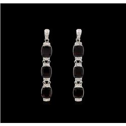 Crayola 21.00 ctw Garnet and White Sapphire Earrings - .925 Silver