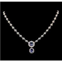 14KT White Gold 5.50 ctw Tanzanite and Diamond Necklace