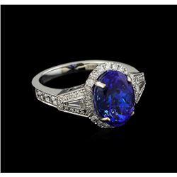 18KT White Gold 5.05 ctw Tanzanite and Diamond Ring