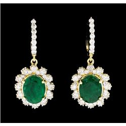 6.04 ctw Emerald and Diamond Earrings - 14KT Yellow Gold
