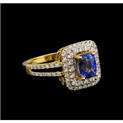 2.08 ctw Sapphire and Diamond Ring - 14KT Yellow Gold
