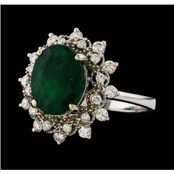 3.09 ctw Emerald and Diamond Ring - 14KT White Gold