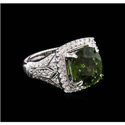4.79 ctw Green Tourmaline and Diamond Ring - 18KT White Gold