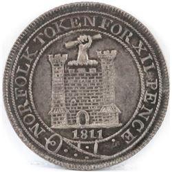 1811 Norfolk Token - Twelve Pence.