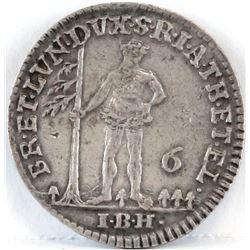 1744 German States 1/6 Thaler - Brunswick - Luneburg.