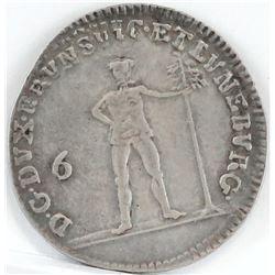 1781 German States 1/6 Thaler - Brunswick - Luneberg.