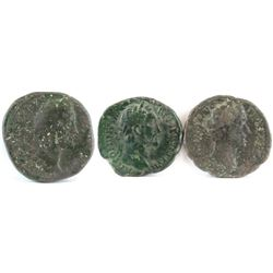 Lot of (3) Roman Empire Coins includes 138-161 Antoninus Pius.