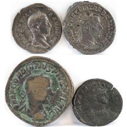 Lot of (4) Roman Empire Coins includes 222-235 Alexander Severus, 251-254 Trebonianus Gallus, 238-24