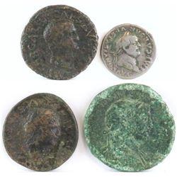 Lot of (4) Roman Empire Coins includes 68-69 Galba, 69-79 Vespasian, 79-81 Titus  98-117 Trajan.